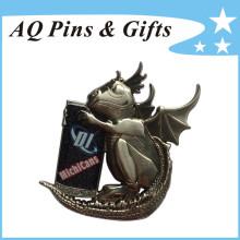 Badge en métal dinosaure 3D avec boîte de paillettes (insigne-219)