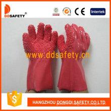 Gants de coton 100%, puce brute de PVC rose finie (DPV106)