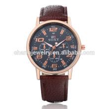 Venta caliente de cuarzo de lujo simple correa de cuero reloj SOXY046