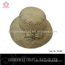Élégant nouveau design boater chapeau de paille pour dames décorer