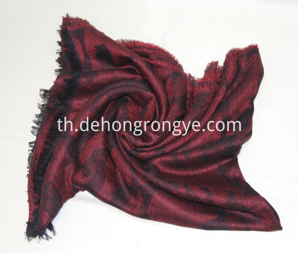 Wine Red Worsted Jacquard Camouflage Cape