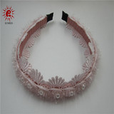 New women girls cute hair decor fabirc flower jeweled hair bands