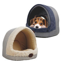 Thick stripe fabric pet bed with soft plush