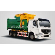 6x4 RHD Sinotruk HOWO hook arm garbage truck / compact garbage truck / howo dustbin truck / compressed truck