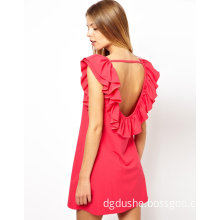 High End Pink Ladies Fashion Dress with New Design Cut out Back (JK11027)