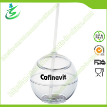 500 Ml Wholesale Plastic Ball-Shape Straw Cup (TB-A5)