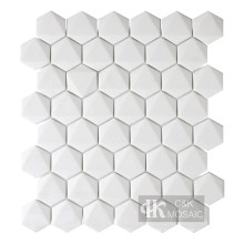Neue Kollektion 3D White Hexagon Recycled Glass Mosaic