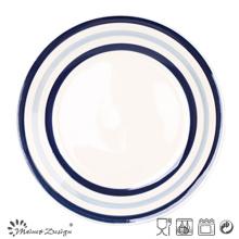 Blauer Kreis-keramischer Abendessen-Teller