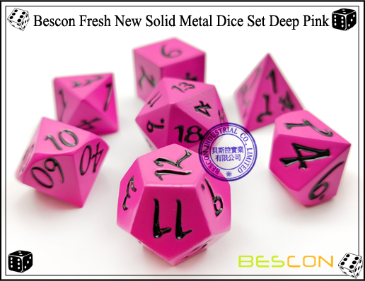 Bescon Fresh New Solid Metal Dice Set Deep Pink-3