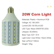 20w 5730 SMD привело кукуруза свет E27 AC180-240V теплый холодный белый светодиод лампы