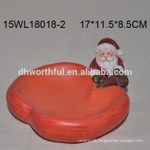 Wholesale ceramic santa claus candy plate for christmas decoration