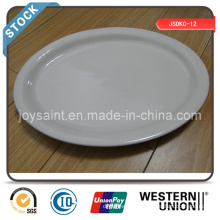 Simple White Ceramic 13′′ Fish Plate Stock