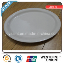 Simple White Ceramic 13′′ Fish Plate Stock