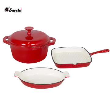 Hot Selling Red Cast Iron Cookware Set
