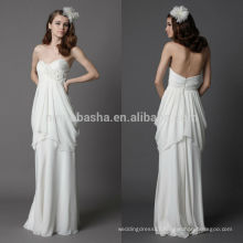 Beautiful 2014 Sweetheart Ruffled Skirt Full-Length Low Zipper Back Chiffon Sheath Wedding Dress Bridal Gown With Flower NB0895