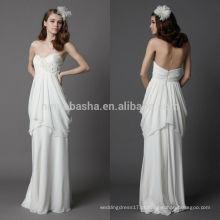 Lindo 2014 Sweetheart Ruffled Skirt Full-Length Low Zipper Voltar Chiffon Bainha Vestido De Noiva Vestido De Noiva Com Flor NB0895