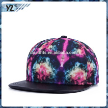 printed snapback cap with PU visor for wholesale