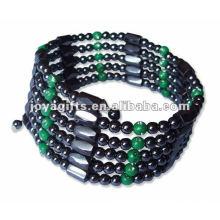 "Magnetic Green Plastic Beaded Wrap Bracelets & Collier 36 """