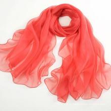 Produtos promocionais Lenço de seda pura Lenço longo xale Vermelho