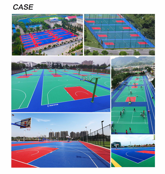 Outdoor basketball sports floor