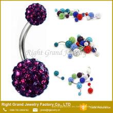 Anillos del botón del vientre de Shamballa del diamante artificial púrpura cristalino del acero inoxidable 316L