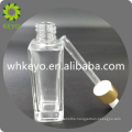 30ml transparent bottle with rubber dropper square thick bottom glass bottle