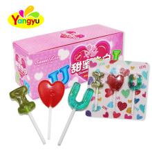 Halal Sweets I Love U shape  Lollipop Valentine candy