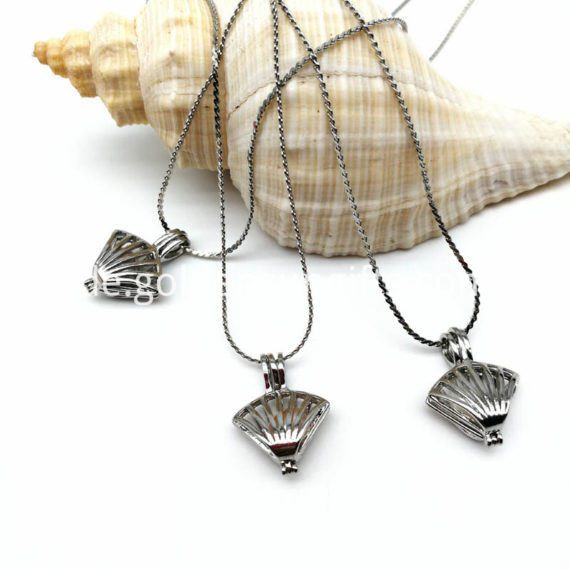 Shell Cage Pendant Necklaces