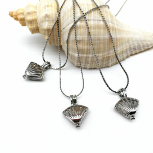 Wish You Love Pearl Shell Cage Pendant Necklace