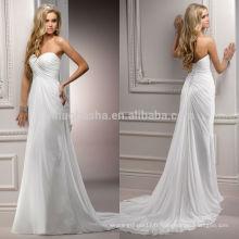 Robe de mariée en mousseline de soie incroyable en 2014 Robe de mariée en dentelle à manches longues et plissées à bretelles nuptiales sans bretelles NB0884