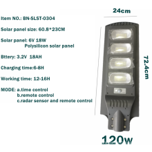 Solar street light with induction remote control