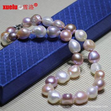 12-15mm super große mehrfarbige barocke kultivierte Perlen Halskette Schmuck (E130084)