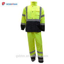 Hi Vis ANSI Waterproof Rain Jacket 100% Waterproof Raincoat Hooded High Visibility Class 3 Reflective Safety Hood Rainsuit