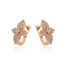 97382 xuping new arrival elegance rose gold color flower shape zircon ladies hoop earrings