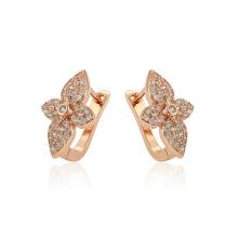 97382 xuping new arrival elegance rose gold color flower shape zircon ladies hoop earrings