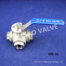 Válvula de bola CF8 de 3 vías de 3 vías, 3 vías 1000 Wog