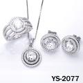 Diamond Jewelry 925 Silver Micro Pave Setting CZ Set.