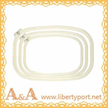 Wholesale Plastic cross stitch hoops adjustable milk white color rounded rectangle embroidery frames