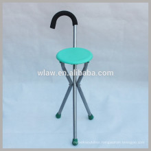 Folding cane chair walking stick with stool
