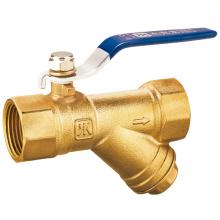 J2038 Válvula de esfera de filtro de bronze com filtro / válvula de latão CW617N