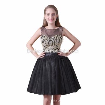 Venda quente projeto curto casamento noivas maid vestido cor preta na altura do joelho vestido de dama de honra atacado com doce ouvir decote