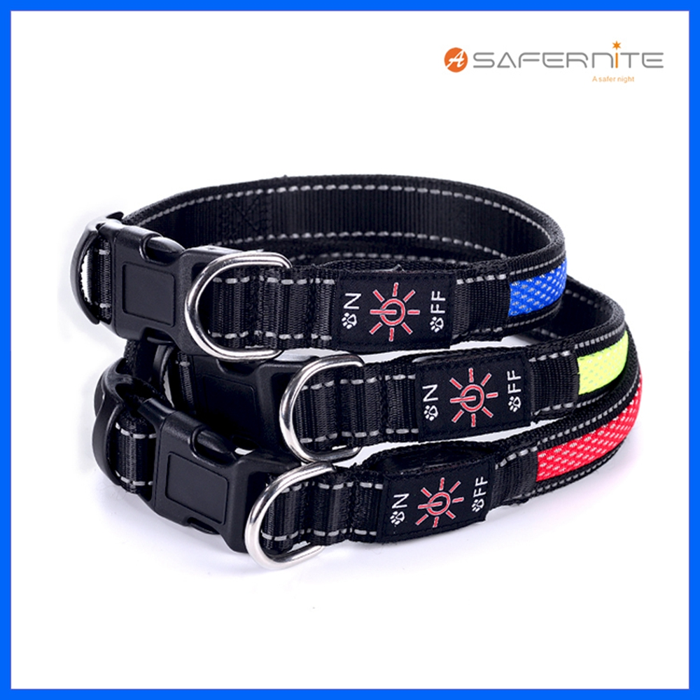 Christmas Flashing Nylon Dog Collar And Leash