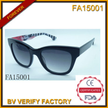 Marco Material de acetato con Polaroid lente gafas de sol (FA15001)