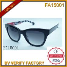 Armature matérielle d'acétate avec lunettes de soleil Polaroid Lens (FA15001)