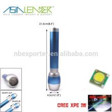 XPE 3W LED 500 Lumen, Nouvelle conception Blue Aluminium Zoom Flashlight