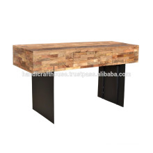 Industrial Metal Leg and Solid Wood Console Table