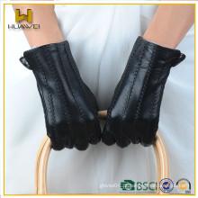 BSCI certificada luvas de couro genuíno mulheres Fábrica de peles alinhadas luvas de couro de pele de carneiro preto para senhoras