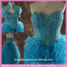 RP0073 Real vestido de fábrica de jaqueta curta jaqueta bordada de lantejoulas topo de osso vestido de baile de finalidade ruffled vestido de baile de formatura azul de strass