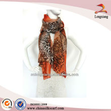 Best-selling Leopard Silk Printed Chiffon Custom Made Scarf Shawl