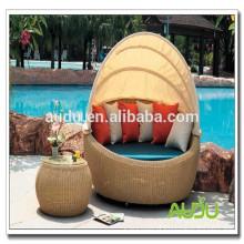 Grande cama de rodízio de rattan de mobiliário exterior barato